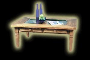 Fenyő Üveges asztal